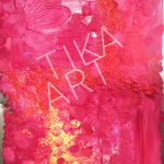 TiKa ART Metall-Unikat Acrylfarbe in Orange Rot Pink Spachtel Used Character Rost Blume
