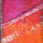 TiKa ART Metall-Unikat Acrylfarbe in Orange Rot Pink Spachtel Used Character Rost Blattsilber