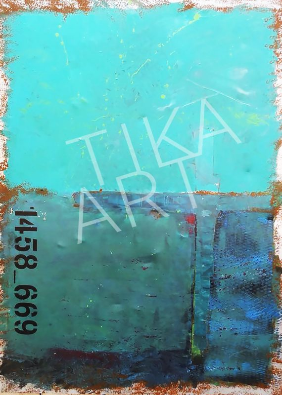 TiKa ART Metall-Unikat Acrylfarbe in Türkis, Blau Aqua Used Character Rost Personalisiert